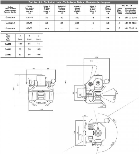 GA380A0 40mm Anhängekupplung 120x55mm