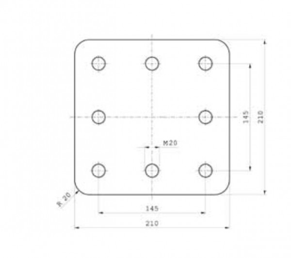 Z-043.5 210 mm x 210 mm x 40 mm Anschweißplatte Bestell Nr. 30001117