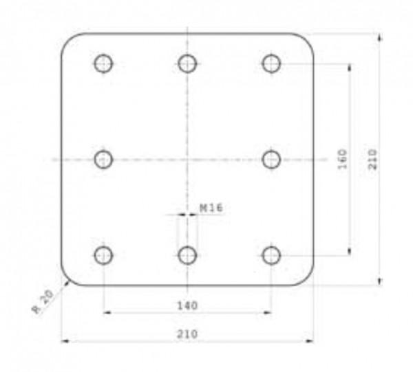 Z-045.1 210 mm x 210 mm x 40 mm Anschweißplatte Bestell Nr. 30000866
