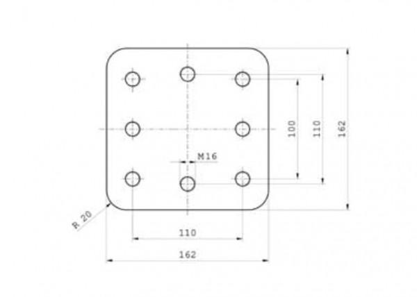 Z-0413 Anschweißplatte 162 mm x 162 mm x 30 mm Bestell-Nr. 30000862
