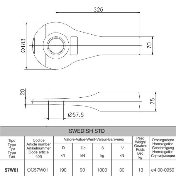 OC57W01 57mm Zugöse 75x70mm