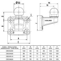 DE00600 Kugelkopfkupplung 50 mit 4-Loch Flansch 120 x 55 mm