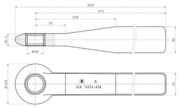 Z-059 40 mm Einschweißzugöse 65 mm x 55 mm mit geschlitzter Buchse