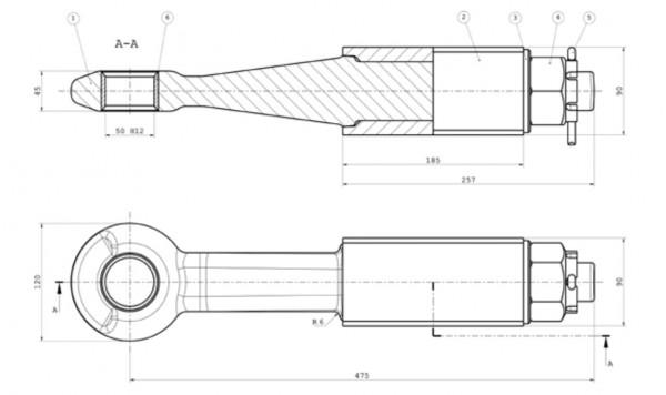 Z-077 50 mm Einschraubzugöse (geschlitzte Buchse) mit Typenschild Bestell-Nr. 30002940