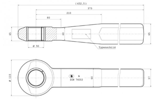 Z0631 50 mm Einschweißzugöse 65 mm x 60 mm mit Typenschild und geschlitzter Buchse