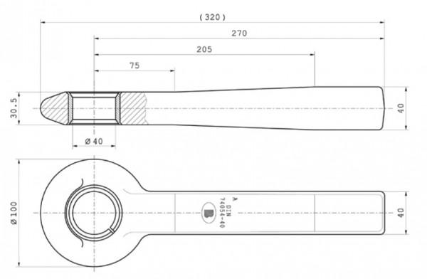 Z-012.1 40 mm Einschweißzugöse 40 mm x 40 mm mit geschlitzter Buchse