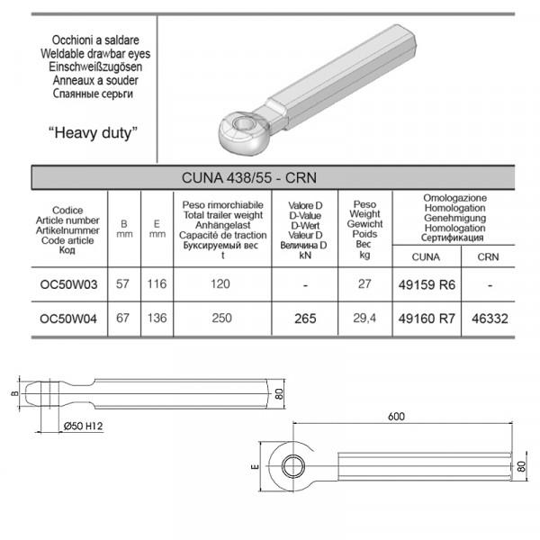 OC50W04 50 mm Einschweißzugöse 80x80 mm Vollschaft