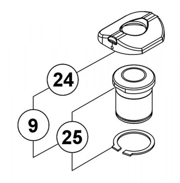 RG00428 Untere Buchse mit Auflagering (Plastik)