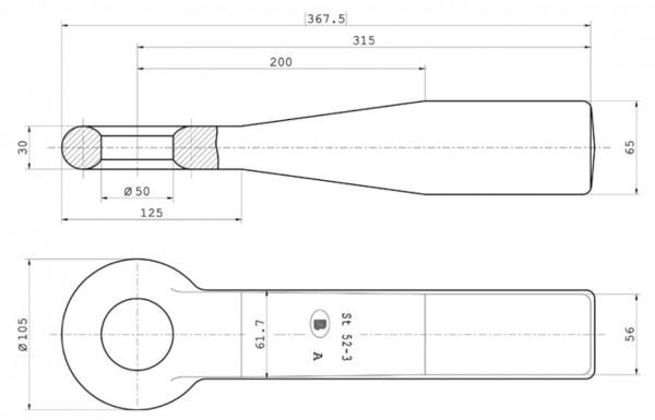 Z-037 50 mm Ring-Einschweißzugöse 65 mm x 56 mm Bestell-Nr. 30000490
