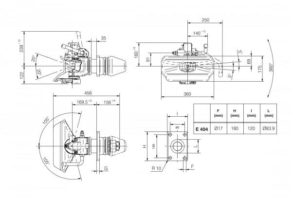 GE4G4A0 40 mm Anhängekupplung 140 x 80 mm Handhebel aufwärts