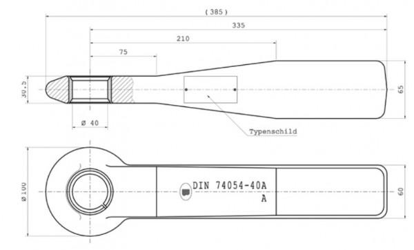Z-066.2 40 mm Zugöse 65 mm x 60 mm Vollschaft (mit geschlitzter Buchse) Bestell-Nr. 30000949