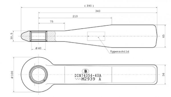 Z-016 40 mm Einschweißzugöse 65 mm x 55 mm Vollschaft mit geschlitzter Buchse