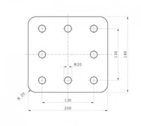 Z-044.1 200 x 190 x 40 Anschweißplatte Bestell Nr. 30000865